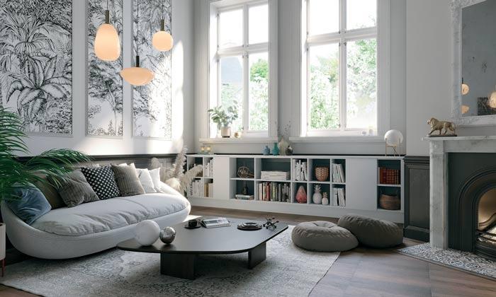 vue d'ensemble d'un salon avec mur en papier peint et bibliothèque basse sous la fenêtre
