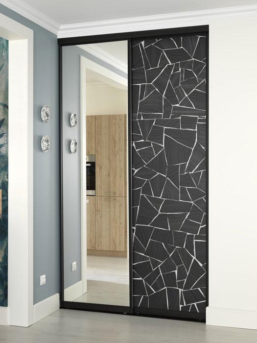 Petite dressing d'entrée avec portes coulissantes en impression numérique (motif graphique)