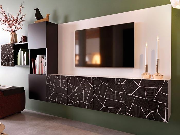 Meuble TV suspendu coloris noir et blanc motif Block