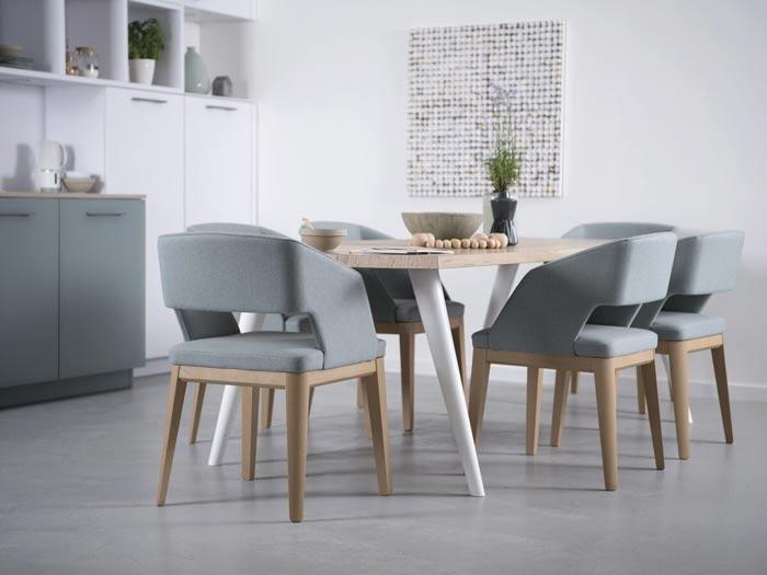 table de salle à manger et chaise en tissu (chaise et tabouret)
