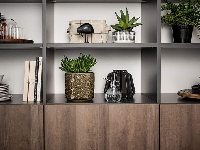 Objets et plantes posés sur un meuble en bois